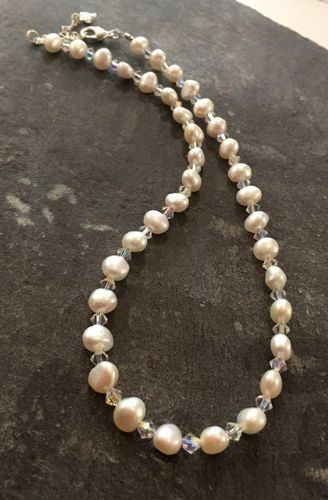 Freshwater Pearl & Swarovski Crystal Necklace FN04